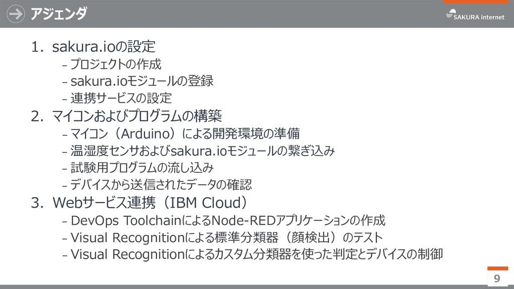 アジェンダ 1. sakura.ioの設定 ₋ プロジェクトの作成 ₋ sakura.ioモジ...