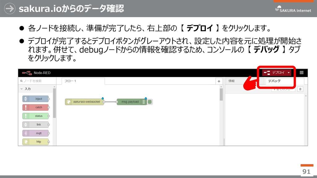 sakura.ioからのデータ確認  各ノードを接続し、準備が完了したら、右上部の 【 デプ...