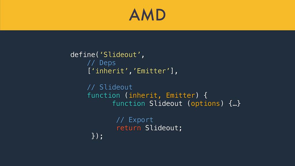 AMD define('Slideout', // Deps ['inherit','Emit...