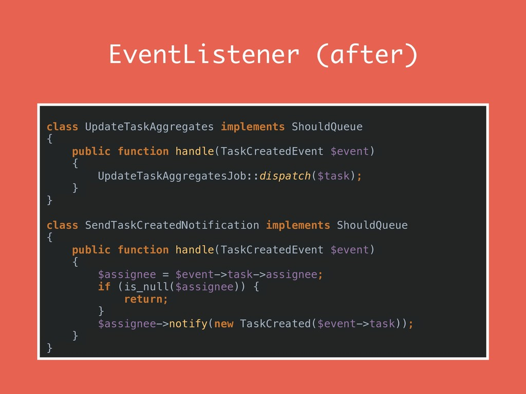 EventListener (after) class UpdateTaskAggregate...