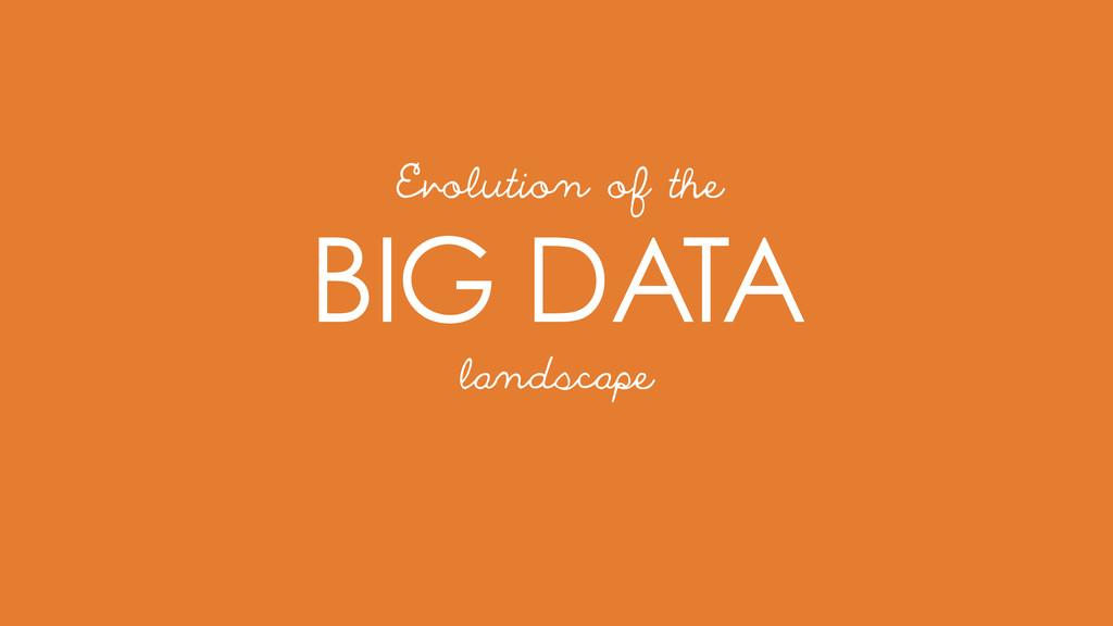 BIG DATA Evolution of the landscape