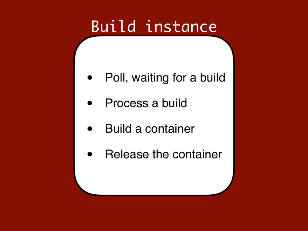 Build instance • Poll, waiting for a build • Pr...