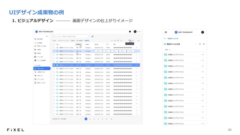 50 UIデザイン成果物の例 1. ビジュアルデザイン 画⾯デザインの仕上がりイメージ