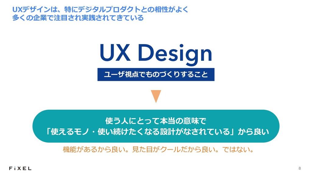 8 UXデザインは、特にデジタルプロダクトとの相性がよく 多くの企業で注⽬され実践されてきてい...