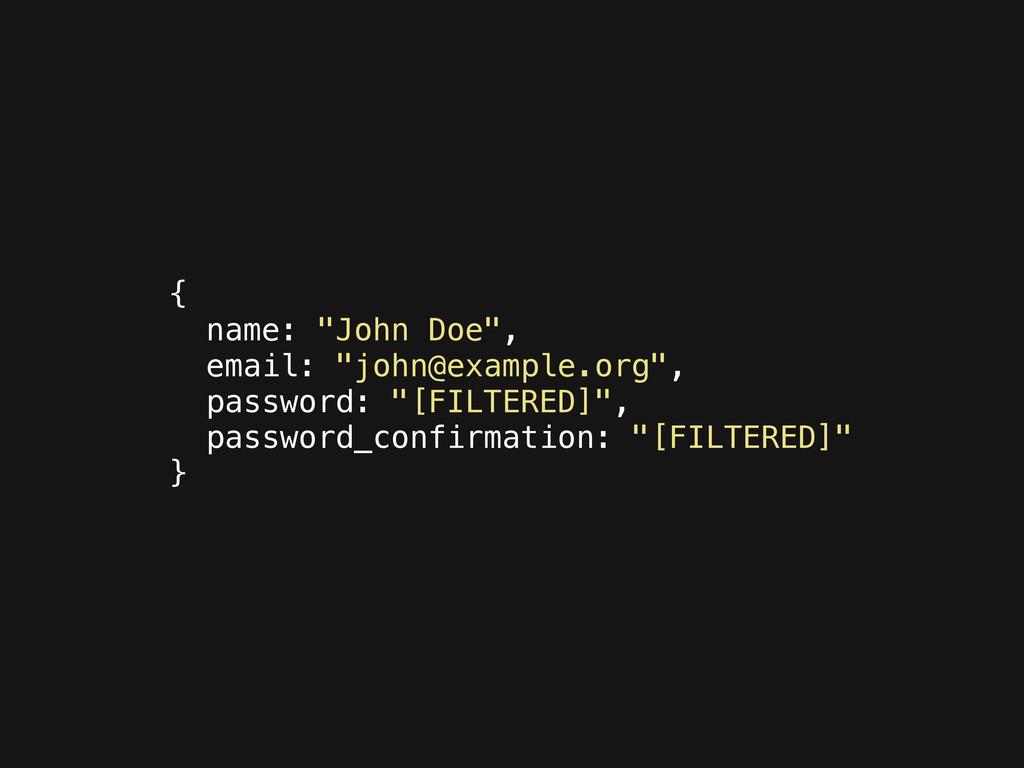 "{ name: ""John Doe"", email: ""john@example.org"", ..."