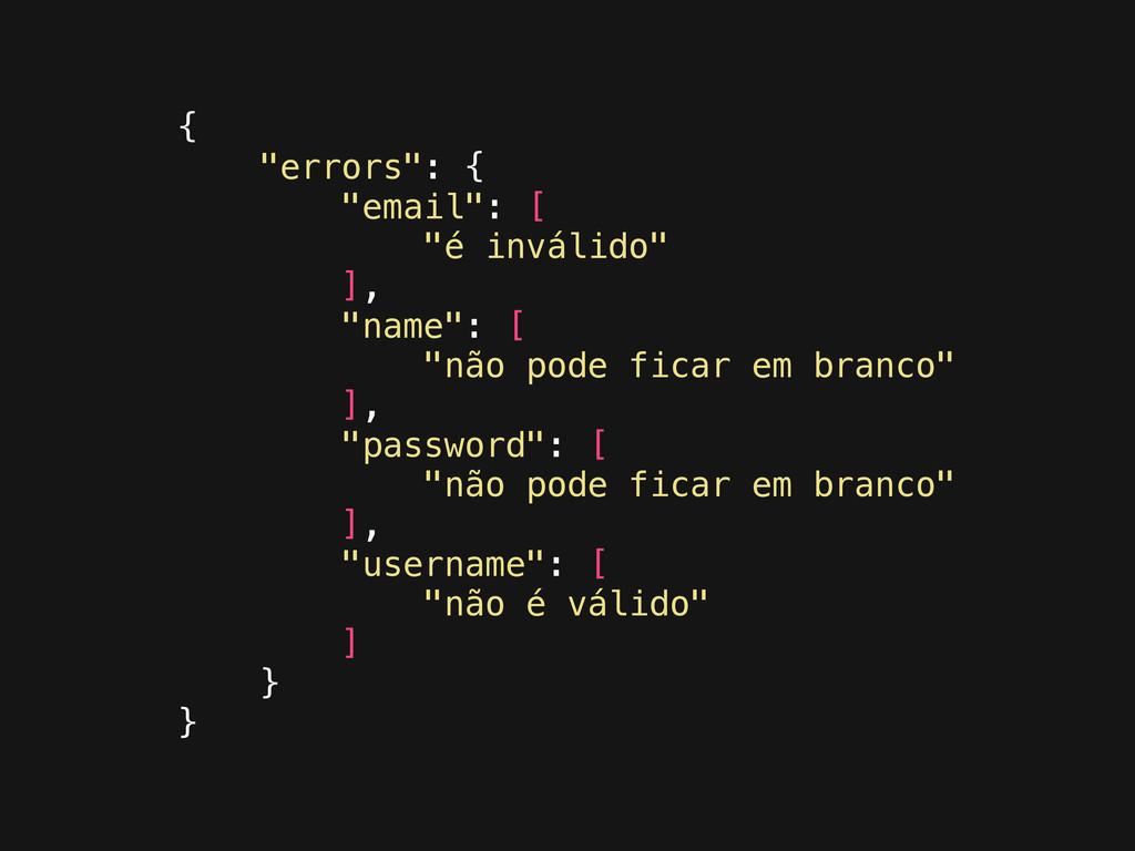 """{ """"errors"""": { """"email"""": [ """"é inválido"""" ], """"name""""..."""