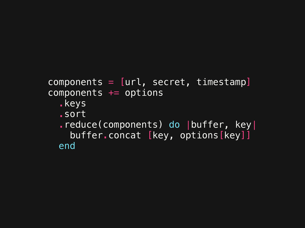 components = [url, secret, timestamp] component...