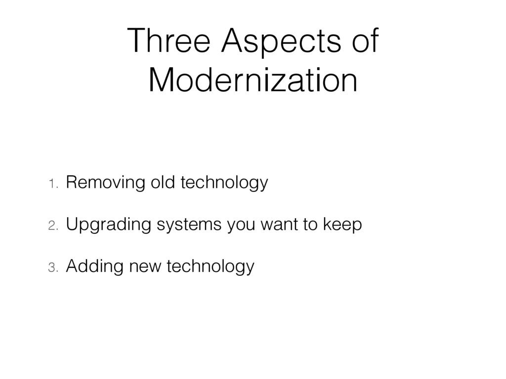 Three Aspects of Modernization 1. Removing old ...
