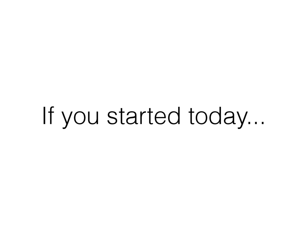 If you started today...