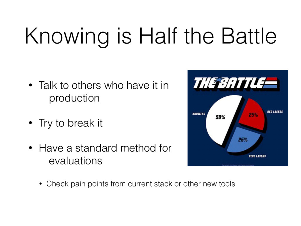 Knowing is Half the Battle • Talk to others who...