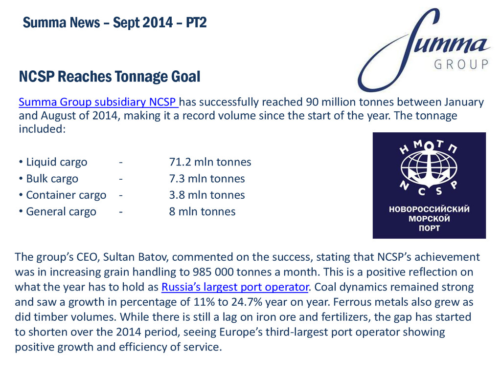 NCSP Reaches Tonnage Goal Summa Group subsidiar...