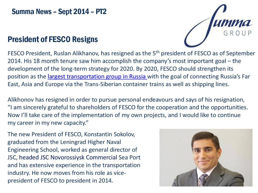 President of FESCO Resigns Summa News – Sept 20...