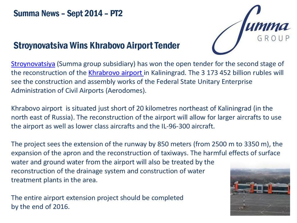 Stroynovatsiva Wins Khrabovo Airport Tender Sum...
