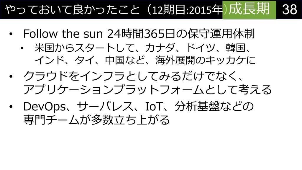 38 やっておいて良かったこと(12期⽬:2015年) • Follow the sun 24...