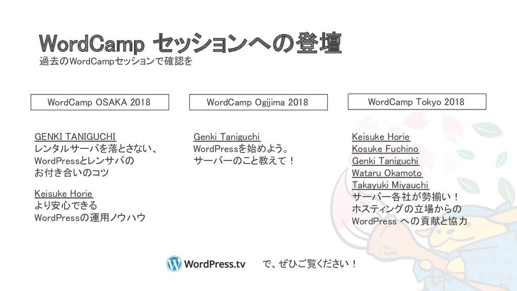 WordCamp セッションへの登壇 過去のWordCampセッションで確認を WordCa...