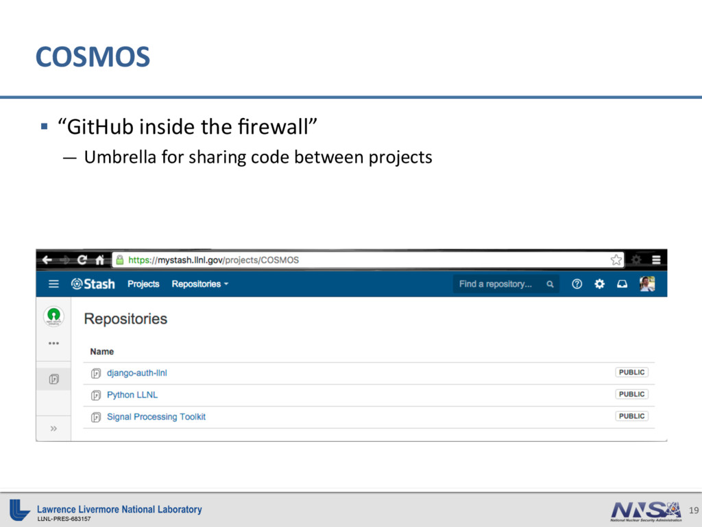 "LLNL-PRES-683157 19 COSMOS § ""GitHub inside th..."