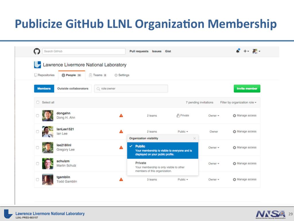 LLNL-PRES-683157 29 Publicize GitHub LLNL Organ...