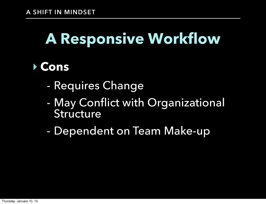 A SHIFT IN MINDSET A Responsive Workflow ‣ Cons...