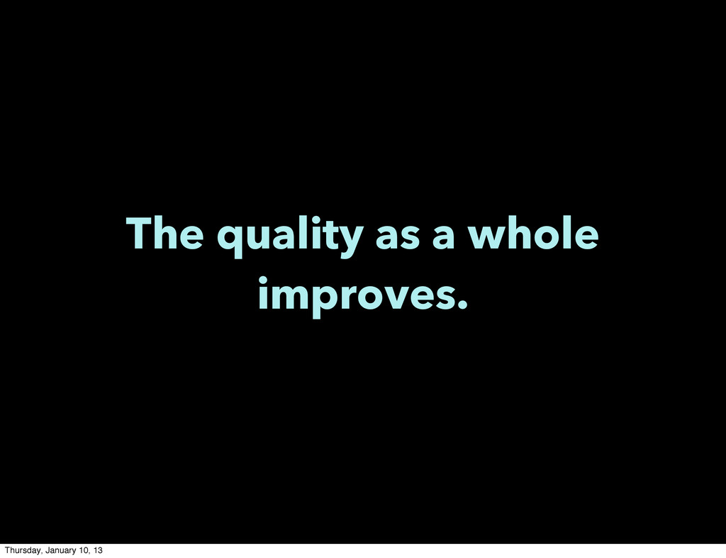 The quality as a whole improves. Thursday, Janu...