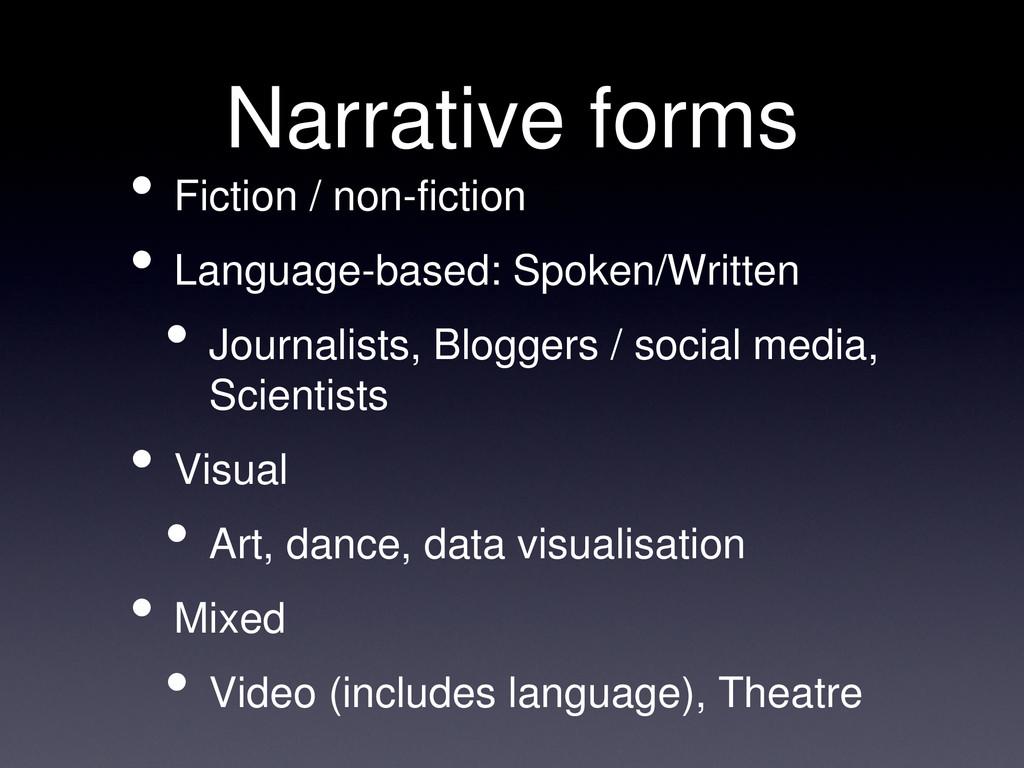 Narrative forms • Fiction / non-fiction • Langu...
