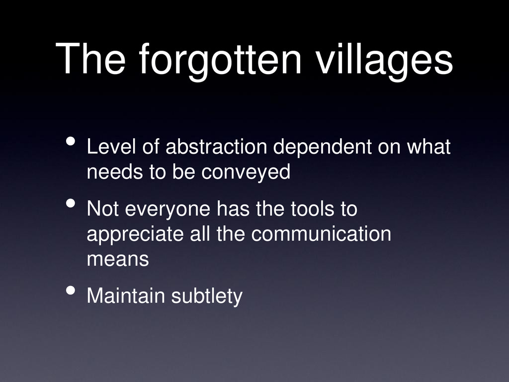 The forgotten villages • Level of abstraction d...
