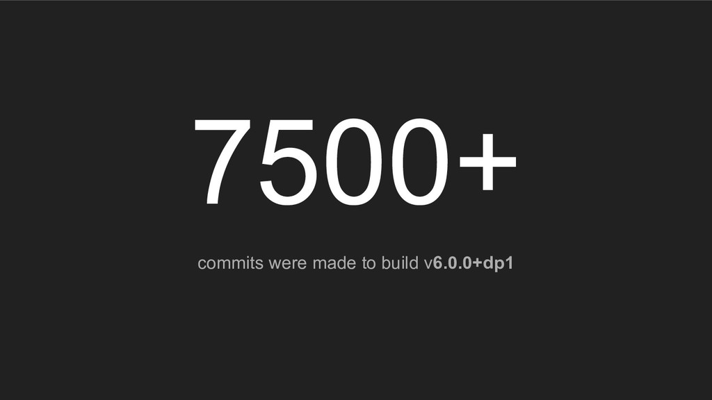 7500+ commits were made to build v6.0.0+dp1