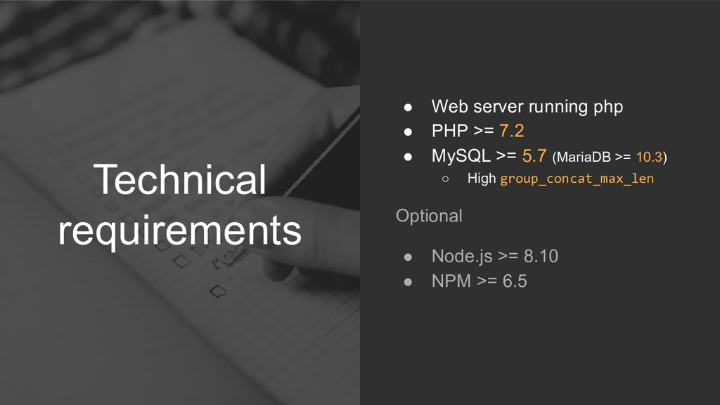 Technical requirements ● Web server running php...