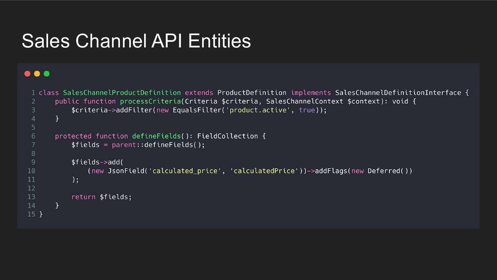 Sales Channel API Entities
