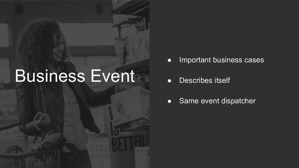 Business Event ● Important business cases ● Des...