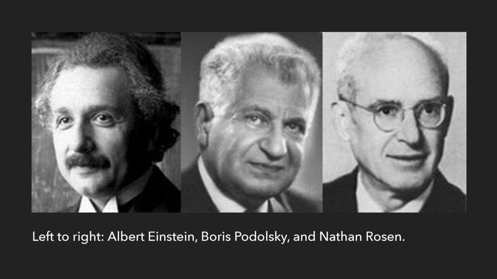 Left to right: Albert Einstein, Boris Podolsky,...