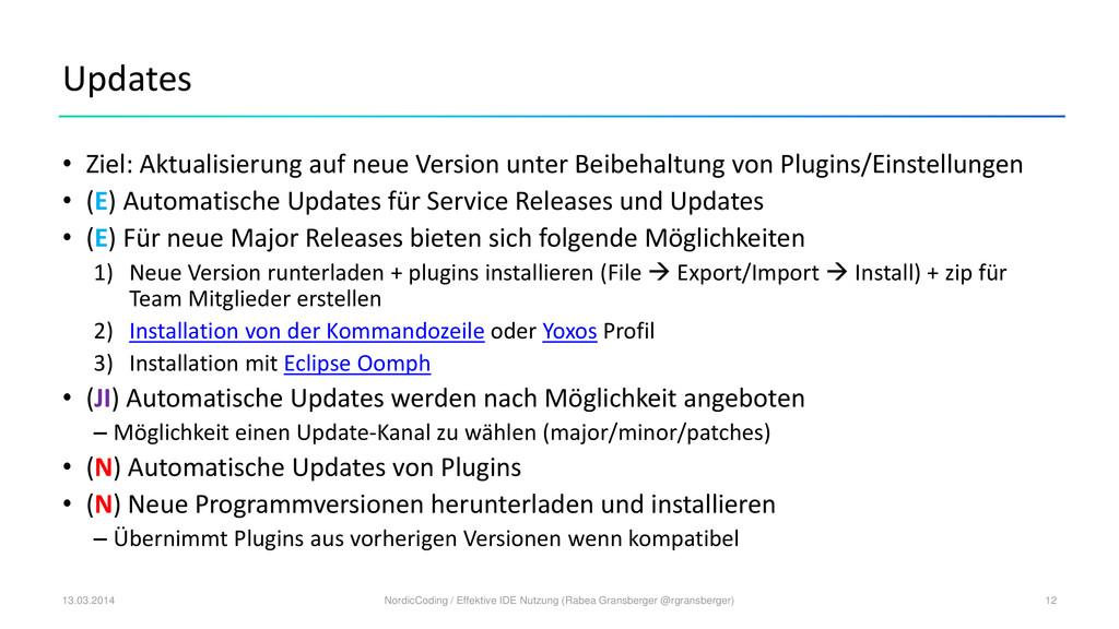 Updates • Ziel: Aktualisierung auf neue Version...