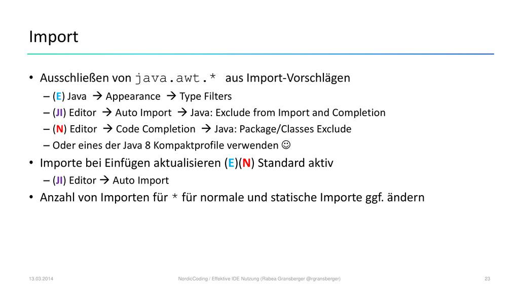 Import • Ausschließen von java.awt.* aus Import...