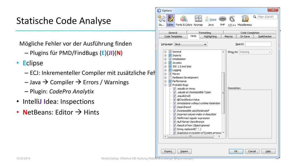 Statische Code Analyse Mögliche Fehler vor der ...