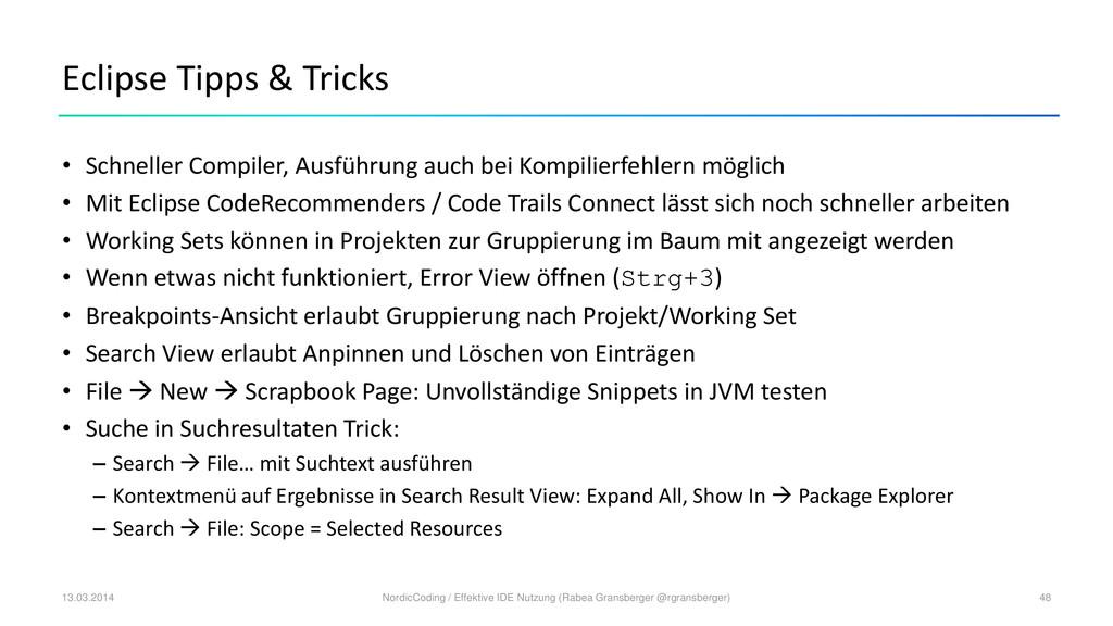 Eclipse Tipps & Tricks • Schneller Compiler, Au...