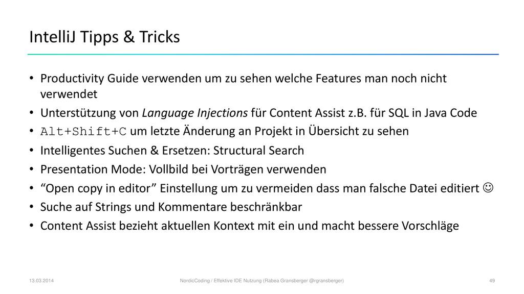 IntelliJ Tipps & Tricks • Productivity Guide ve...