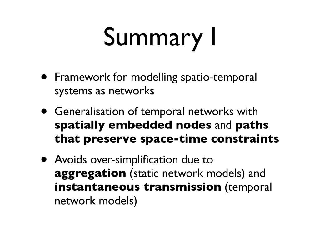 Summary I • Framework for modelling spatio-temp...