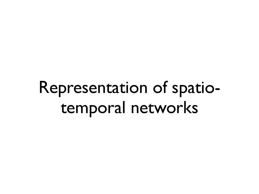 Representation of spatio- temporal networks