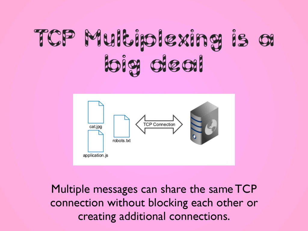 TCP Multiplexing is a big deal Multiple message...