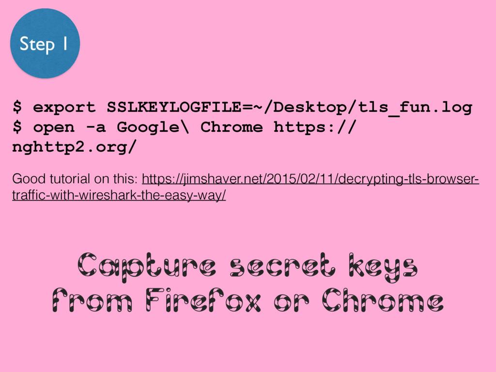 Capture secret keys from Firefox or Chrome $ ex...