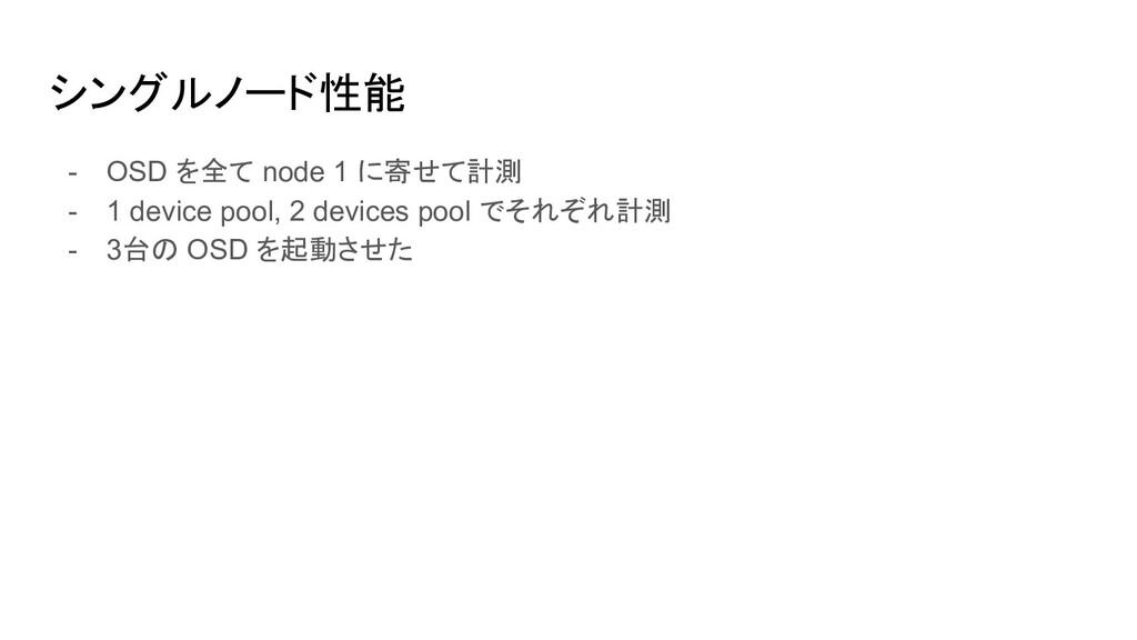シングルノード性能 - OSD を全て node 1 に寄せて計測 - 1 device po...
