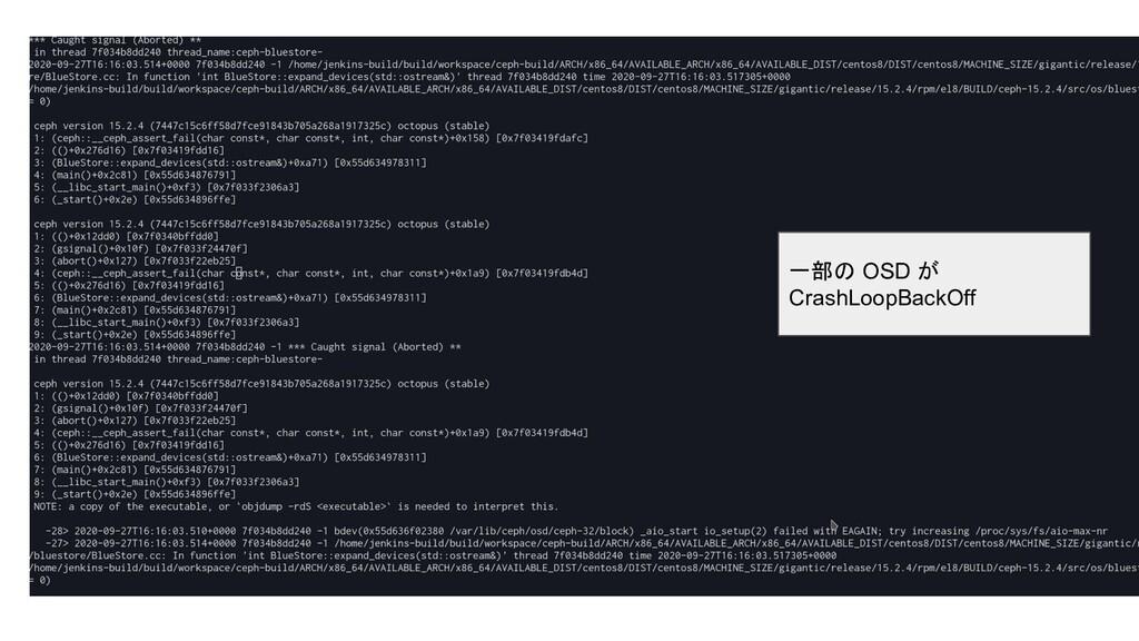 一部の OSD が CrashLoopBackOff