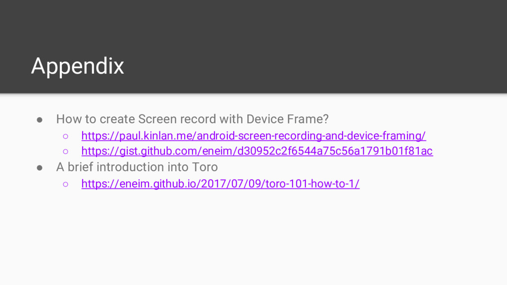 Appendix ● How to create Screen record with Dev...