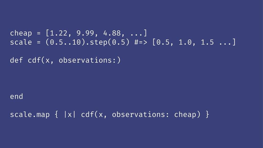 cheap = [1.22, 9.99, 4.88, ...] scale = (0.5..1...