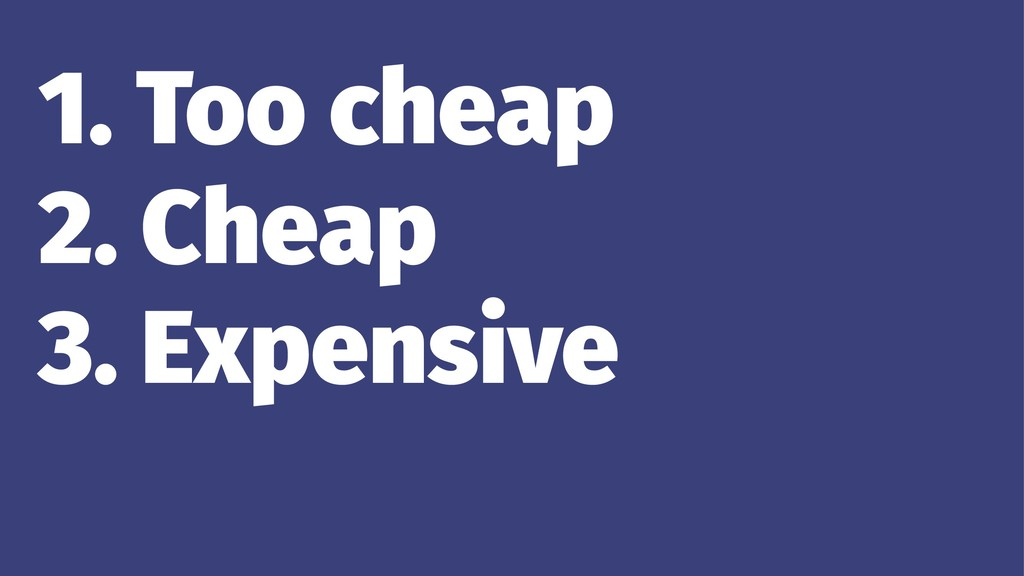 1. Too cheap 2. Cheap 3. Expensive 4. Too expen...