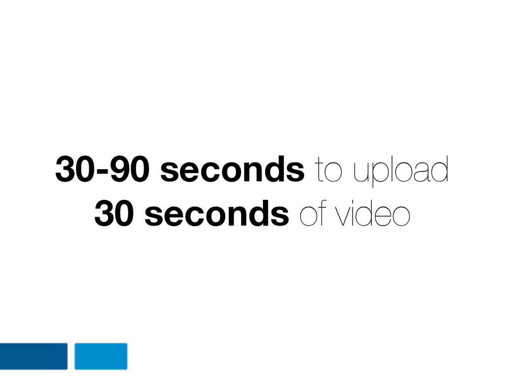 30-90 seconds to upload 30 seconds of video