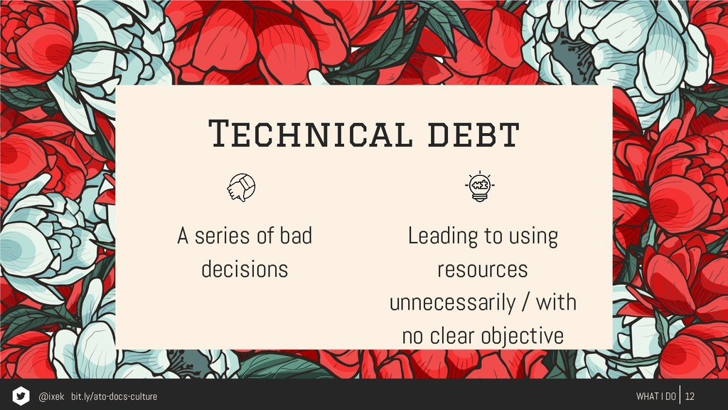 Technical debt A series of bad decisions 12 WHA...