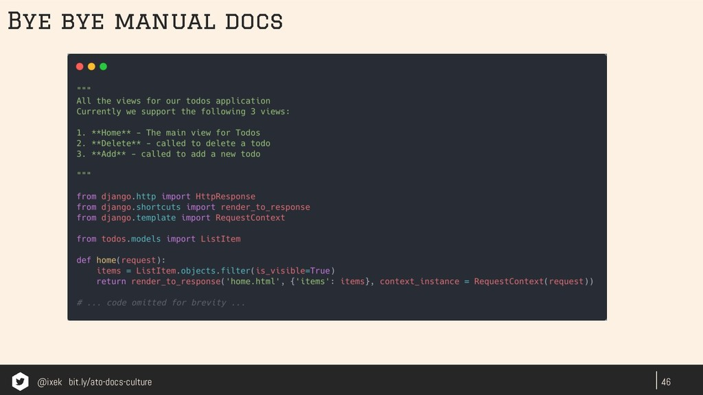 46 Bye bye manual docs @ixek bit.ly/ato-docs-cu...