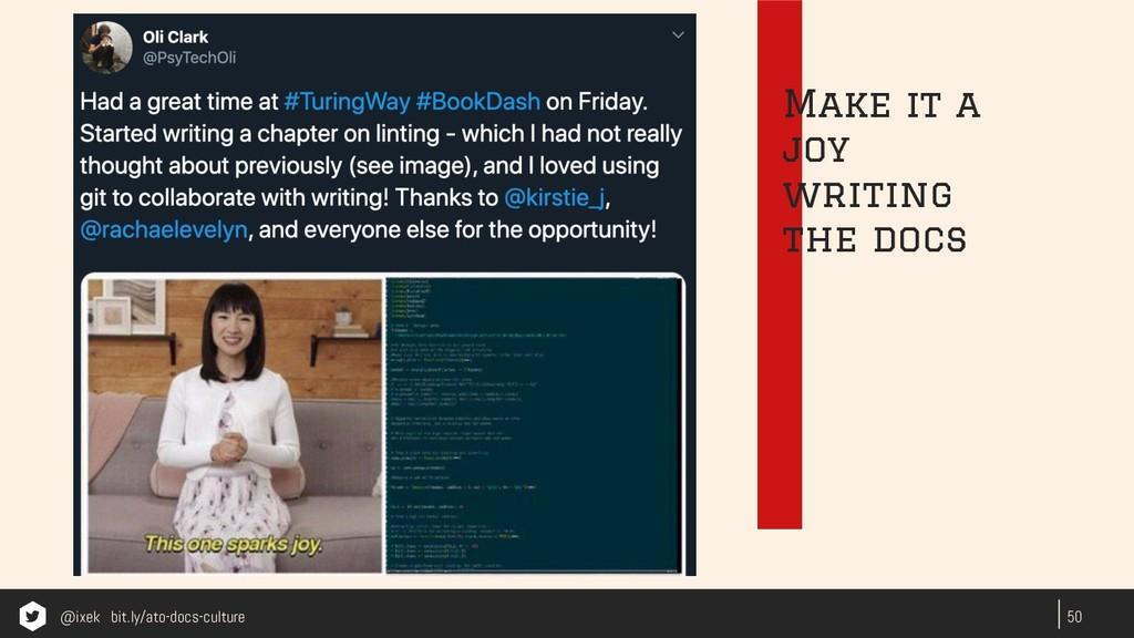 50 Make it a joy writing the docs @ixek bit.ly/...