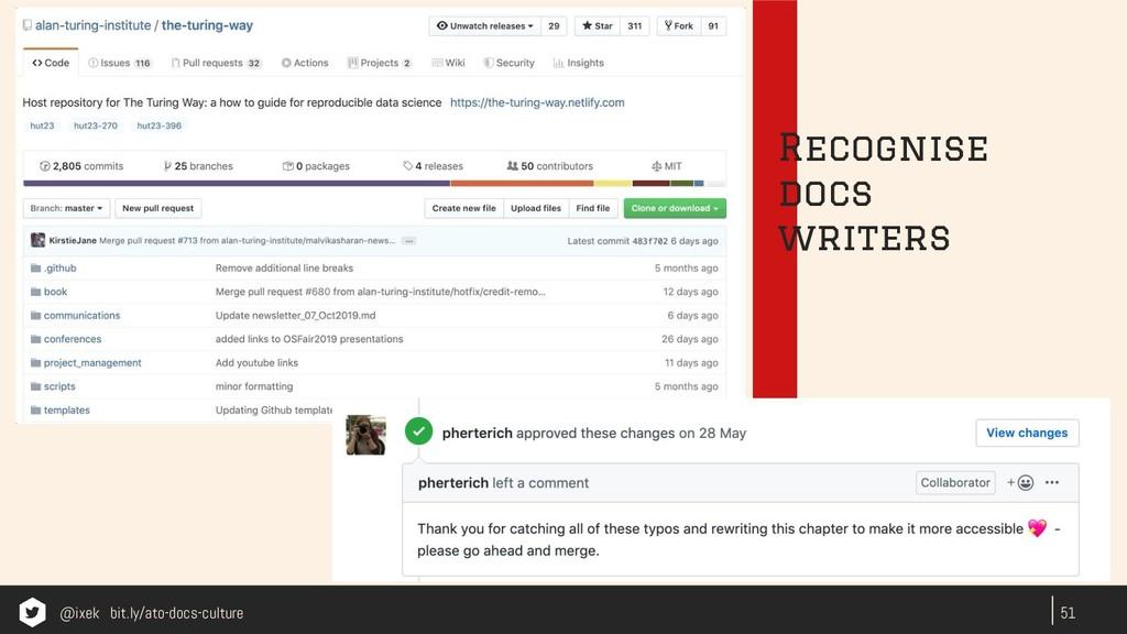 51 Recognise docs writers @ixek bit.ly/ato-docs...