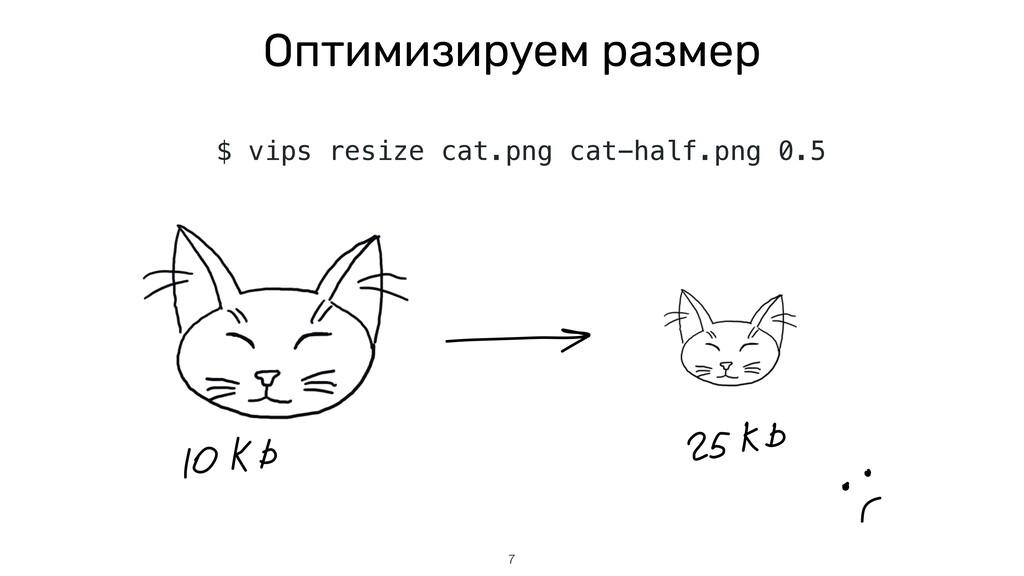 7 Оптимизируем размер $ vips resize cat.png cat...